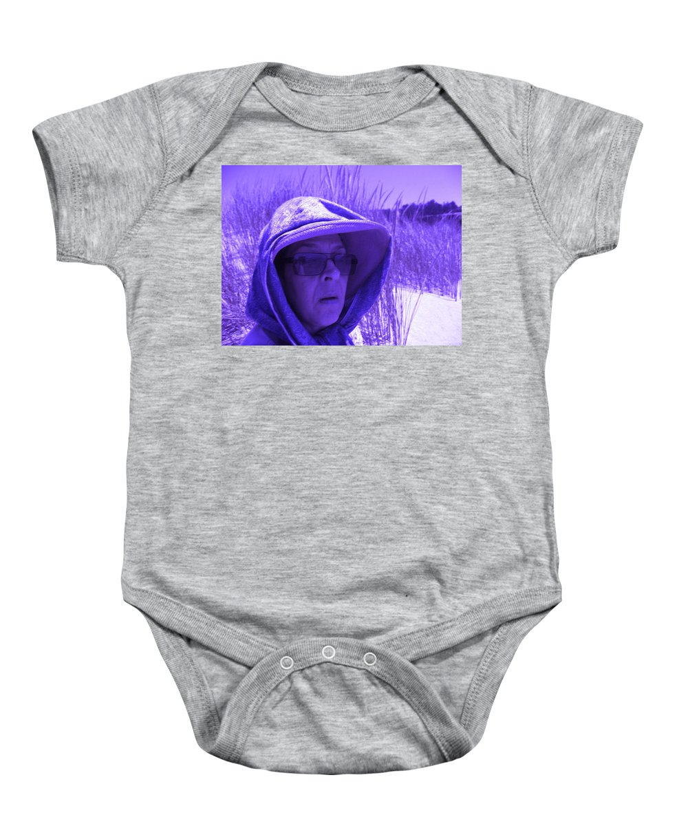 Lady In Hat Baby Onesie featuring the photograph Feeling Blue by Kym Backland