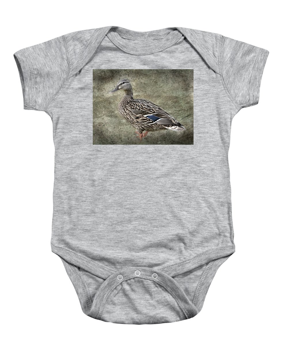 Nature Baby Onesie featuring the photograph Female Mallard Duck Low Saturation by Debbie Portwood