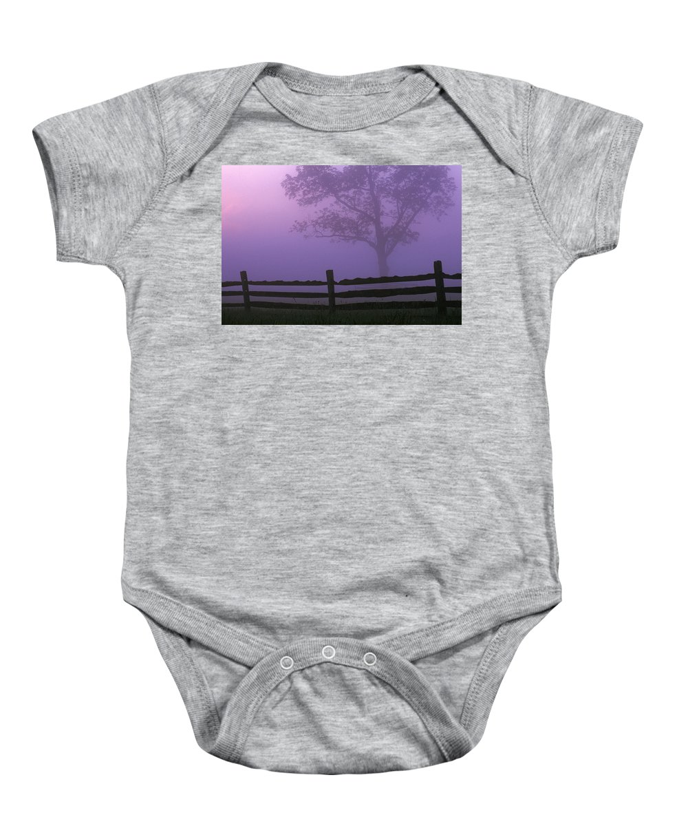 Country Baby Onesie featuring the photograph Fenceline Silhouette With Tree by Natural Selection Tony Sweet