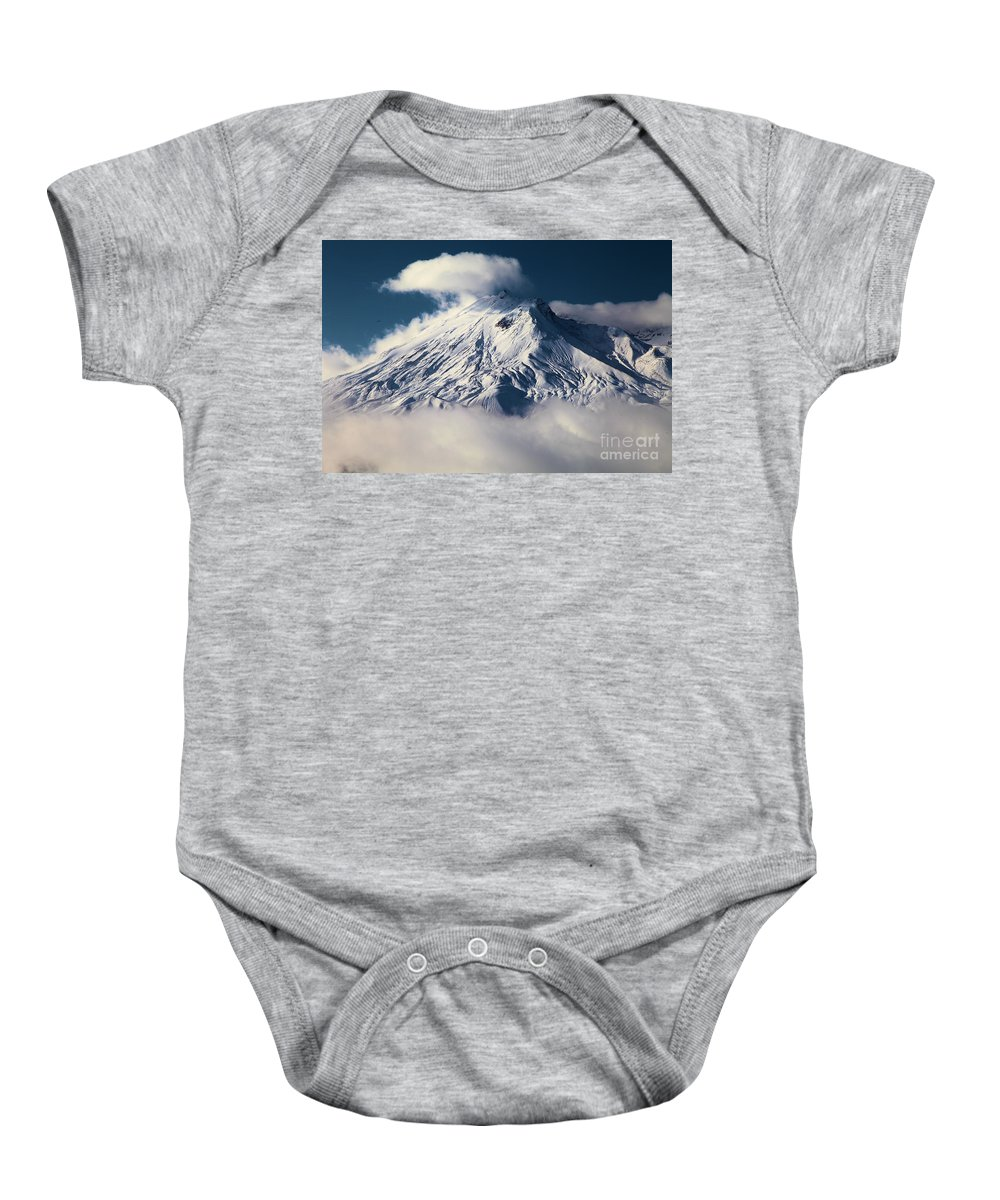 Mt St Helens Baby Onesie featuring the photograph First Snow At Mt St Helens by Adam Jewell