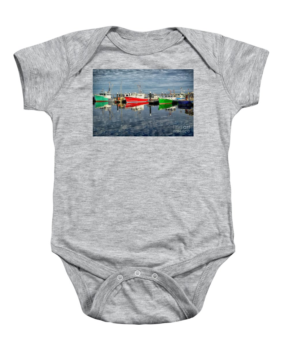 2003 Baby Onesie featuring the photograph Fishing Boat Reflections At Macmillan Pier In Provincetown Cape by Matt Suess