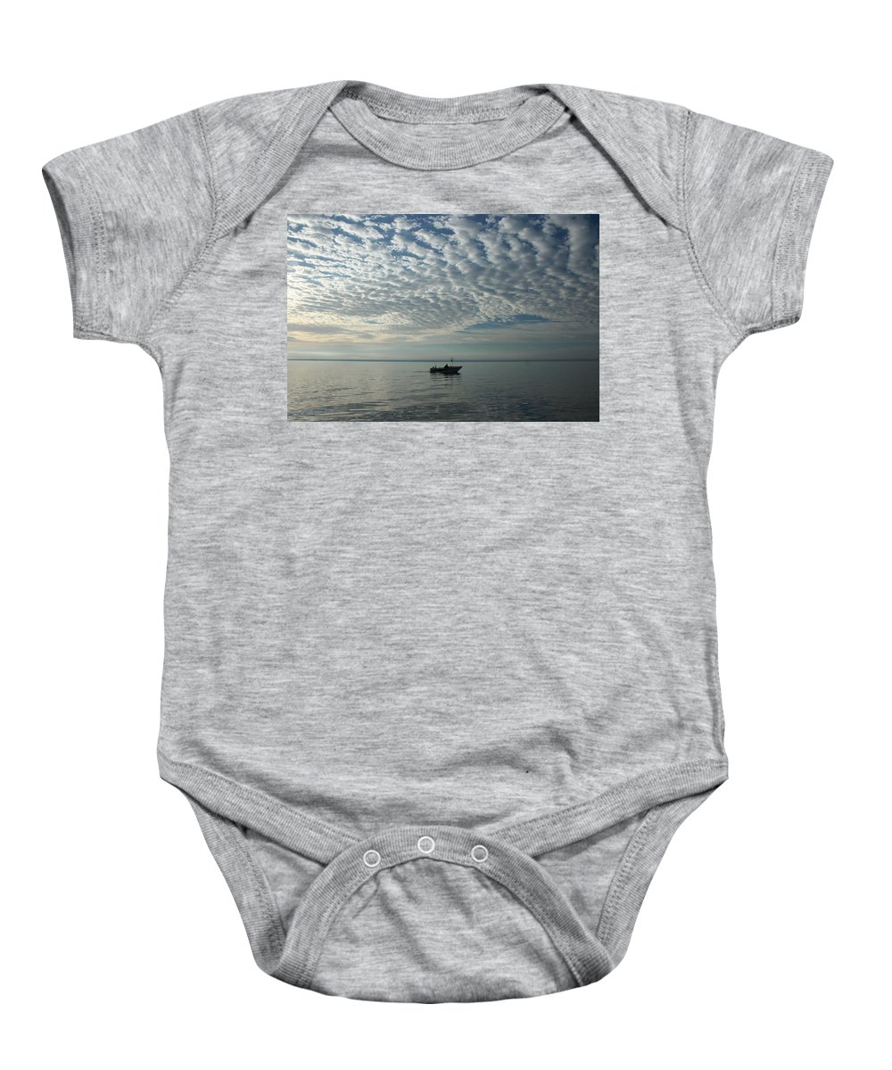 Baby Onesie featuring the photograph Fishing by Joi Electa