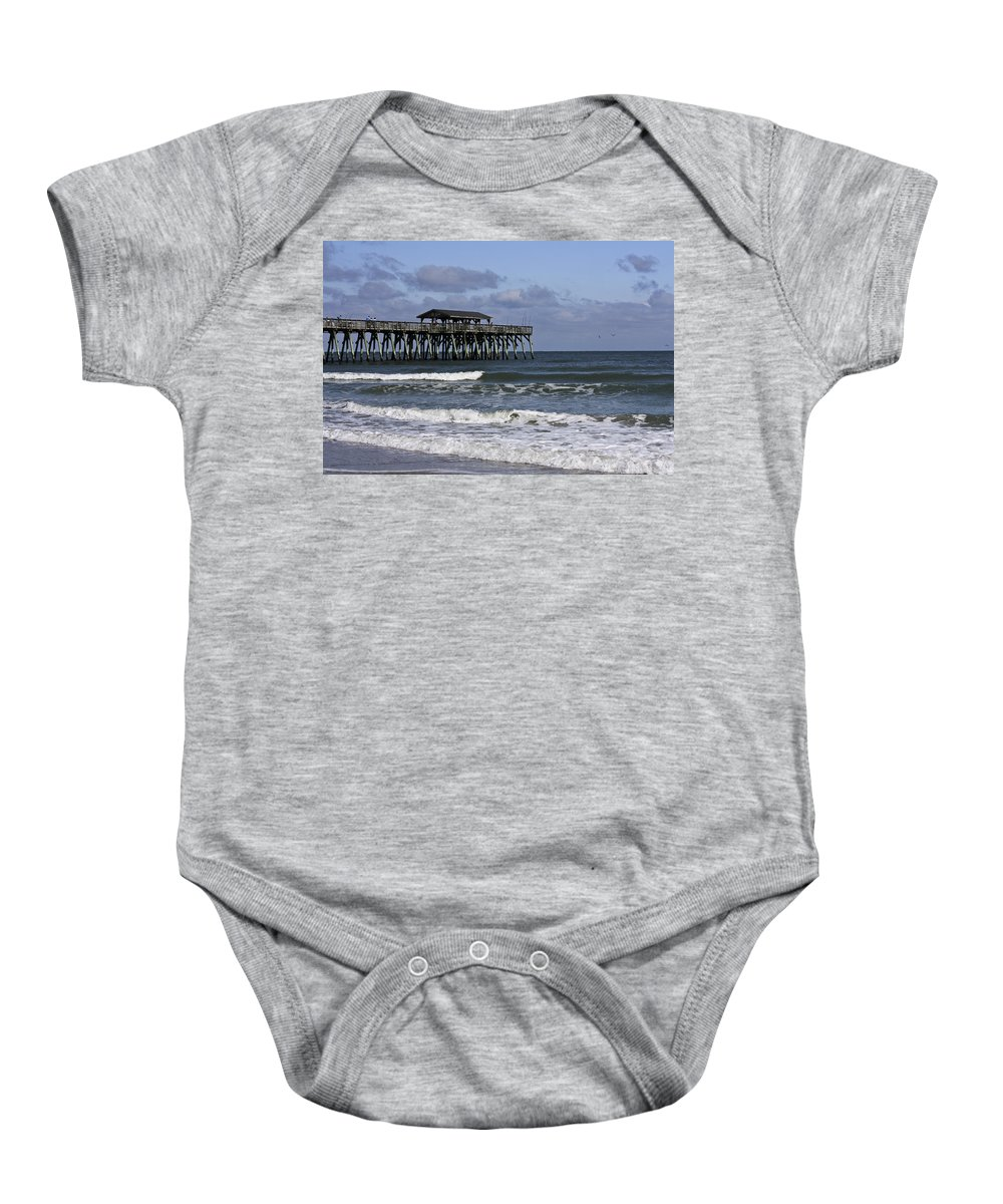 Sunlight Baby Onesie featuring the photograph Fishing On The Pier by Teresa Mucha