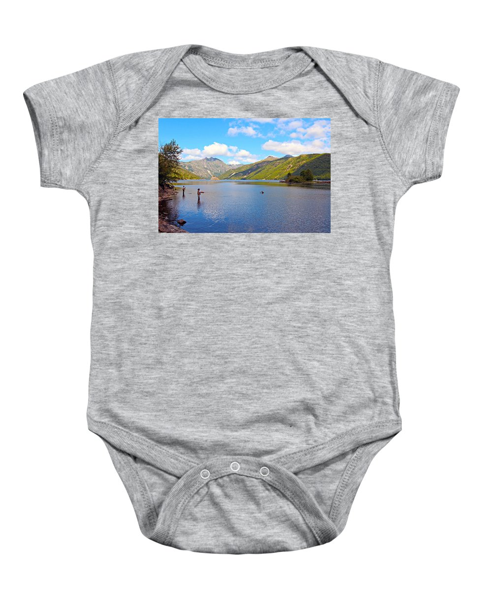 America Baby Onesie featuring the photograph Fishing by Paul Fell