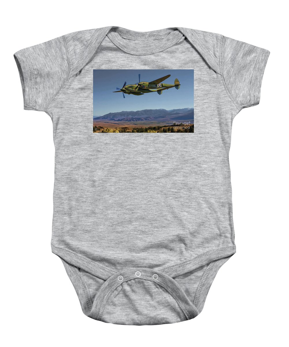 Lockheed Baby Onesie featuring the digital art Flight Over The Sierras by Tommy Anderson