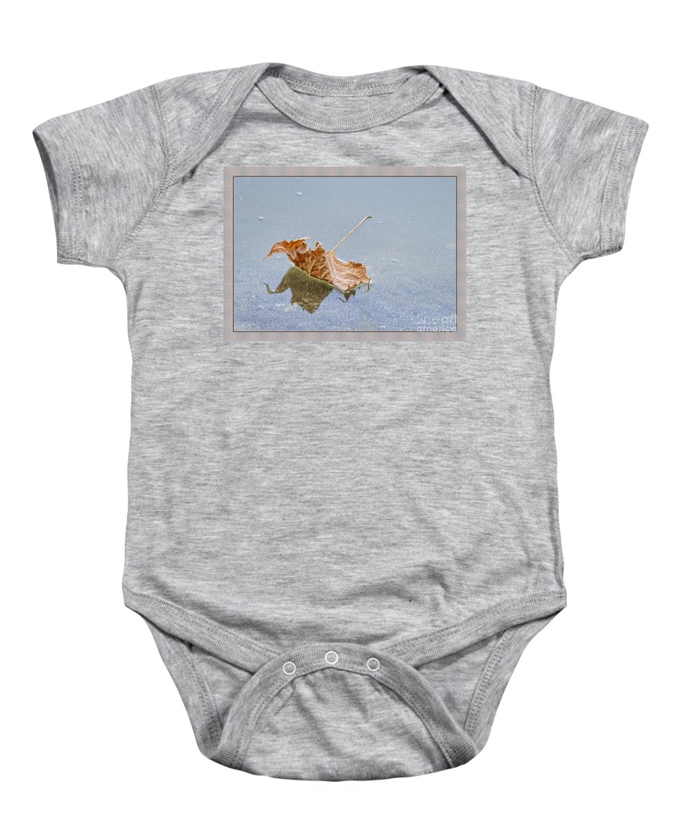 Leaf Baby Onesie featuring the photograph Floating Down Lifes Path by Deborah Benoit