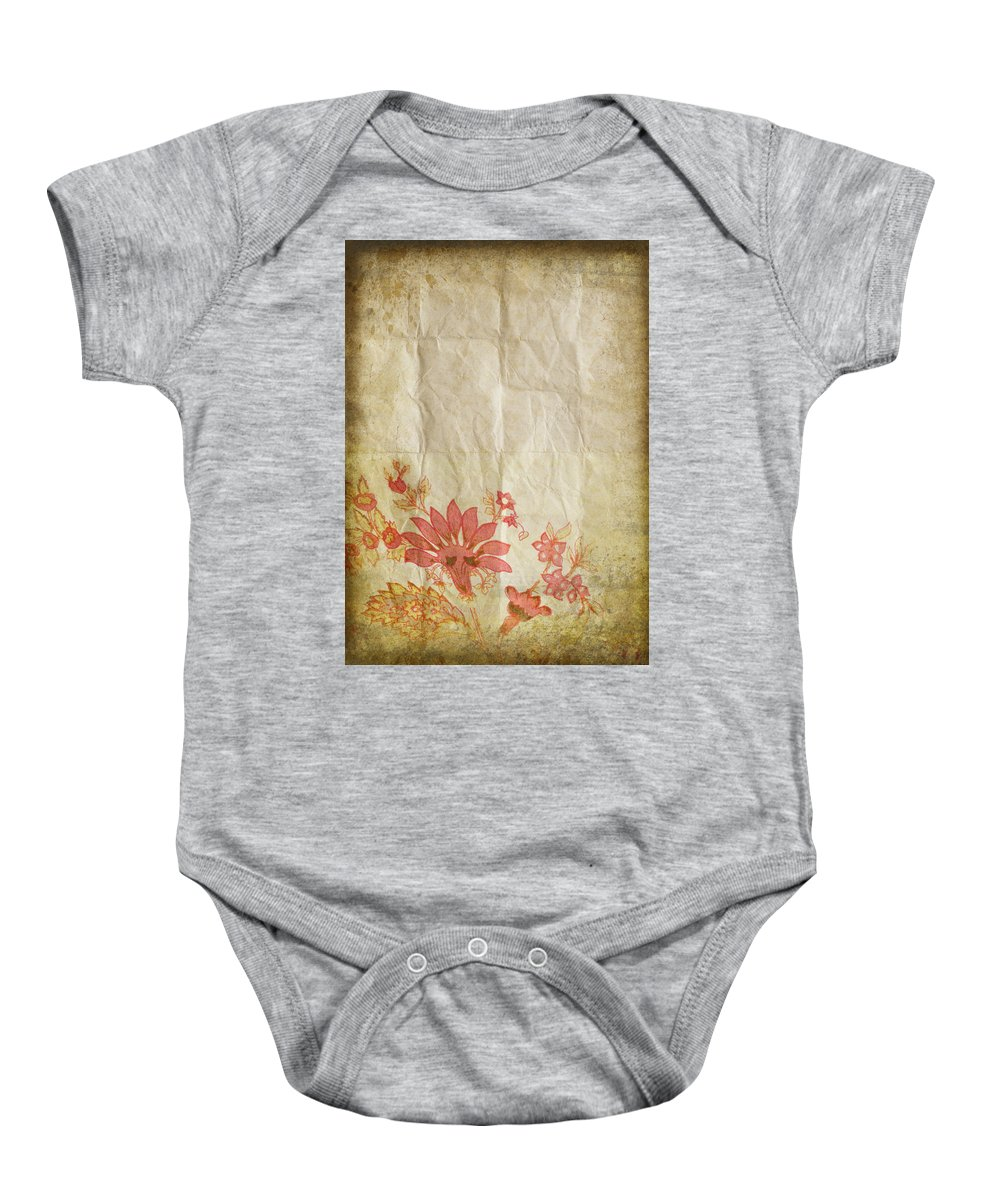Abstract Baby Onesie featuring the photograph Flower Pattern On Old Paper by Setsiri Silapasuwanchai