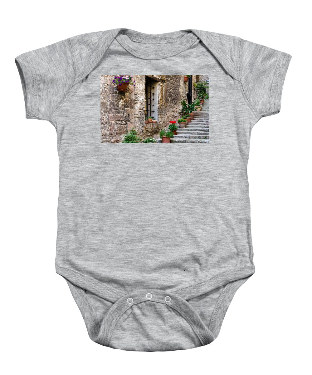 Stairway Baby Onesie featuring the photograph Flowered Stairway by Jon Berghoff