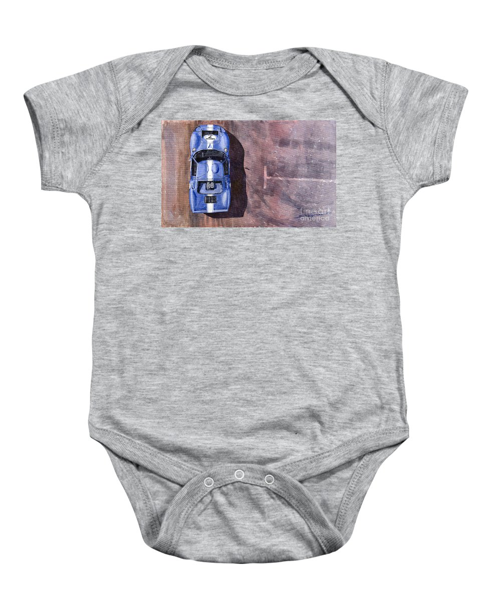 Watercolor Baby Onesie featuring the painting Ford Gt40 Leman Classic by Yuriy Shevchuk
