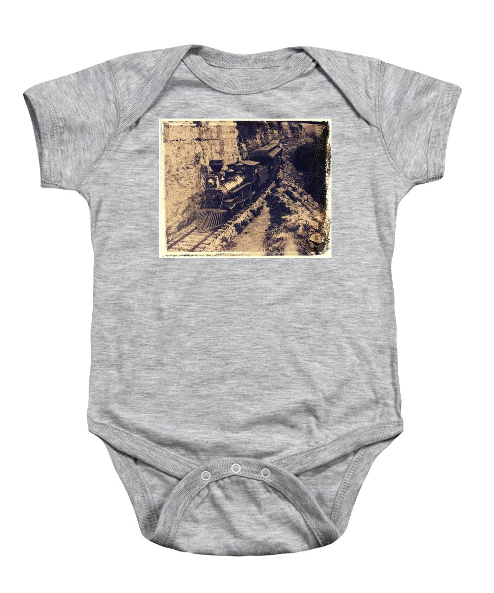 Old Steam Train Baby Onesie featuring the photograph Frisco Steam Train by Garry McMichael
