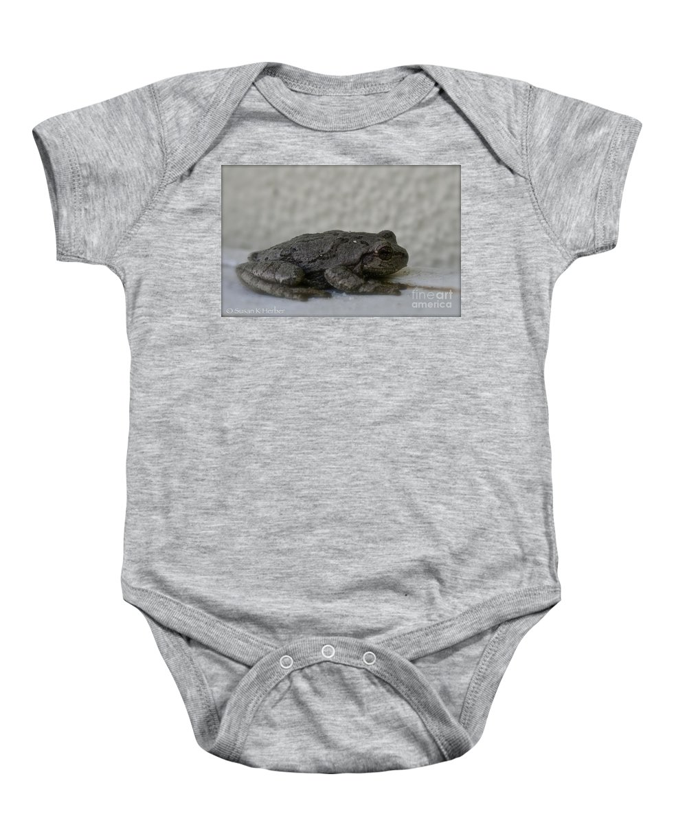 Frog Baby Onesie featuring the photograph Froggy by Susan Herber