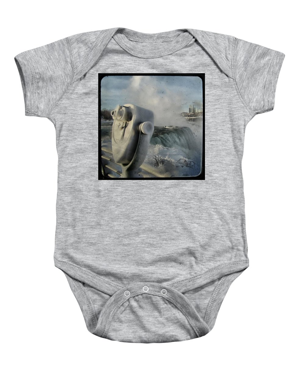 Falls Baby Onesie featuring the photograph Frozen Viewer by Gothicrow Images
