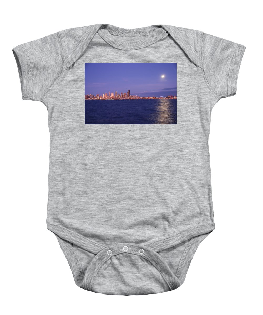 Moon Baby Onesie featuring the photograph Full Moon Over Seattle by Michael Merry