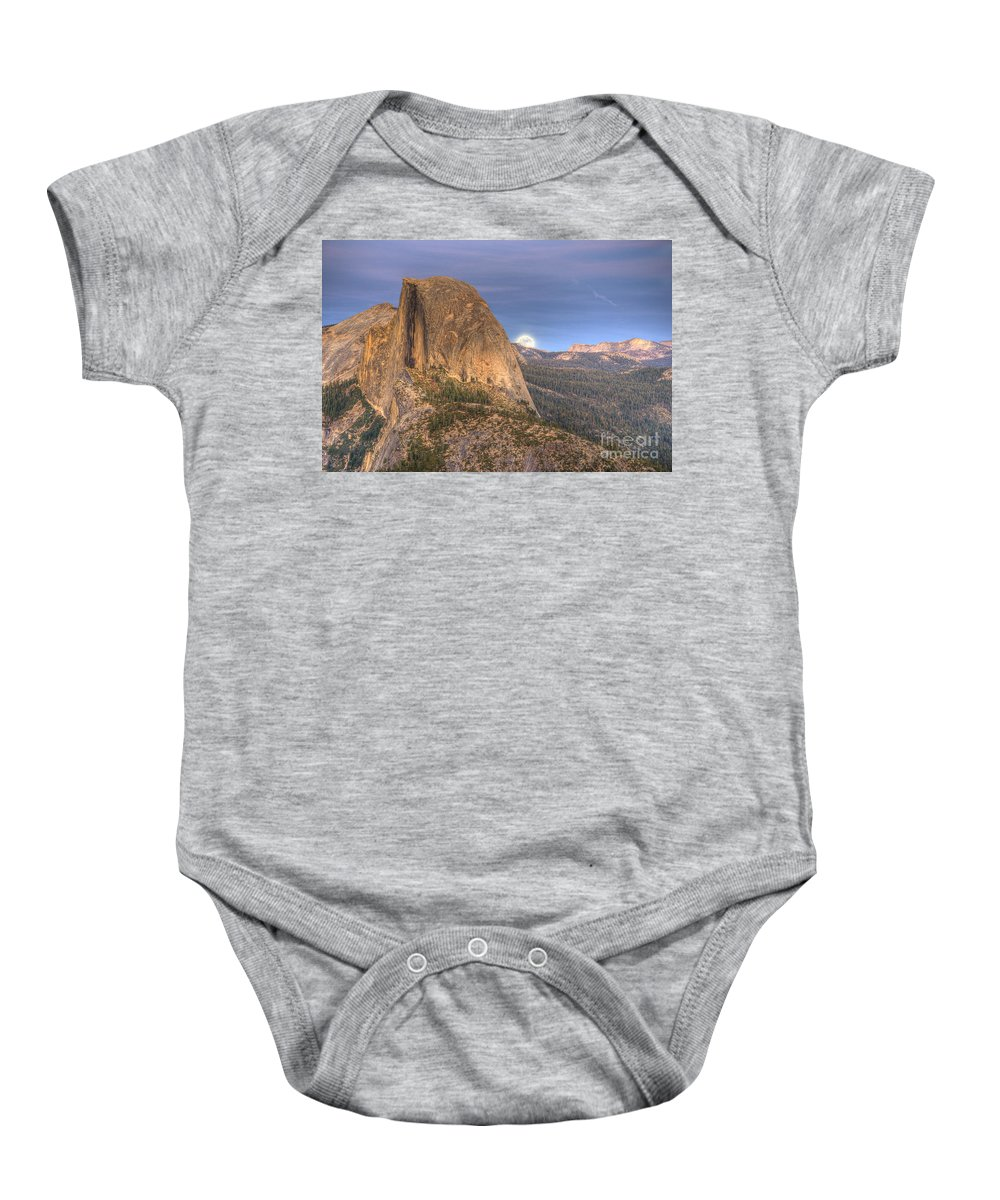 Half Dome Baby Onesie featuring the photograph Full Moon Rise Behind Half Dome 2 by Jim And Emily Bush