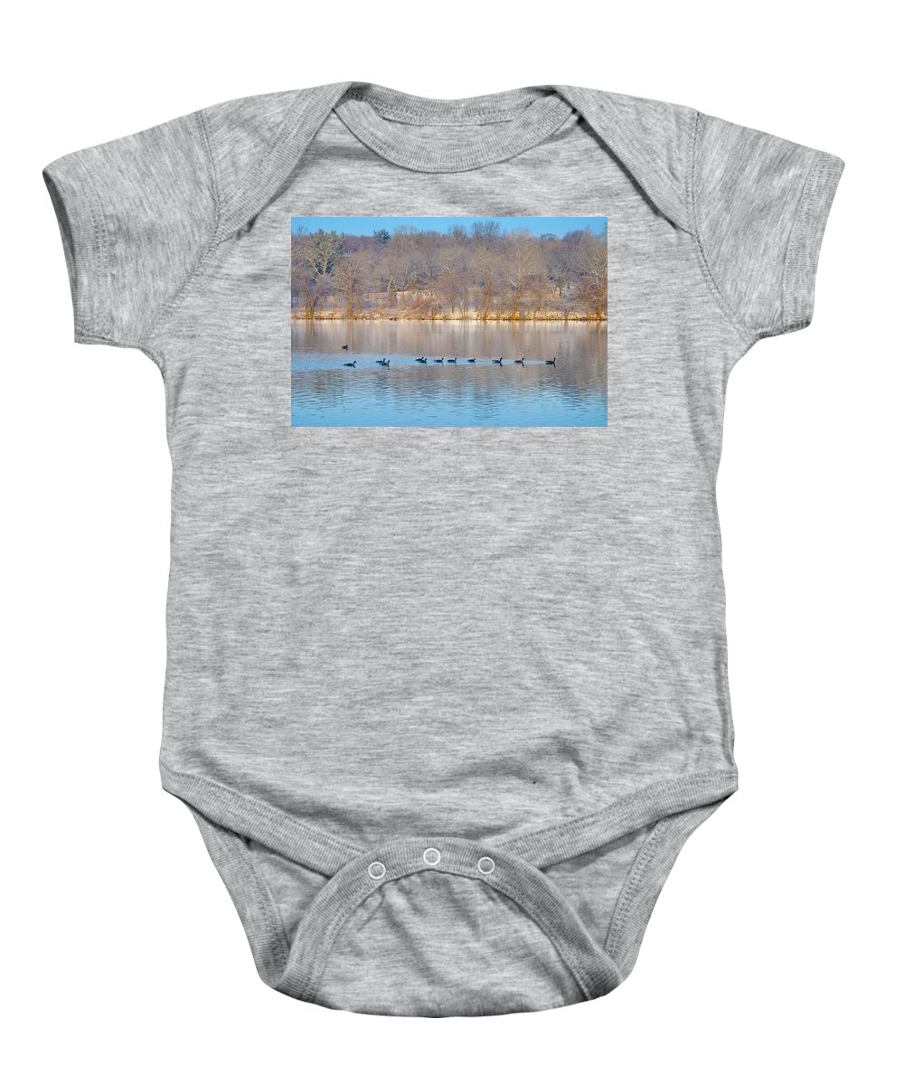 Geese In The Schuylkill River Baby Onesie featuring the photograph Geese In The Schuylkill River by Bill Cannon