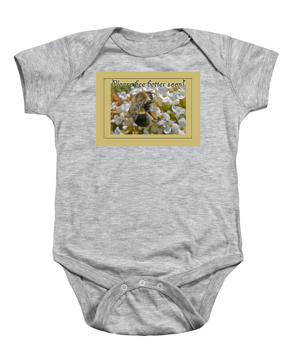 get Well Baby Onesie featuring the photograph Get Well Card - Bumblebee by Mother Nature