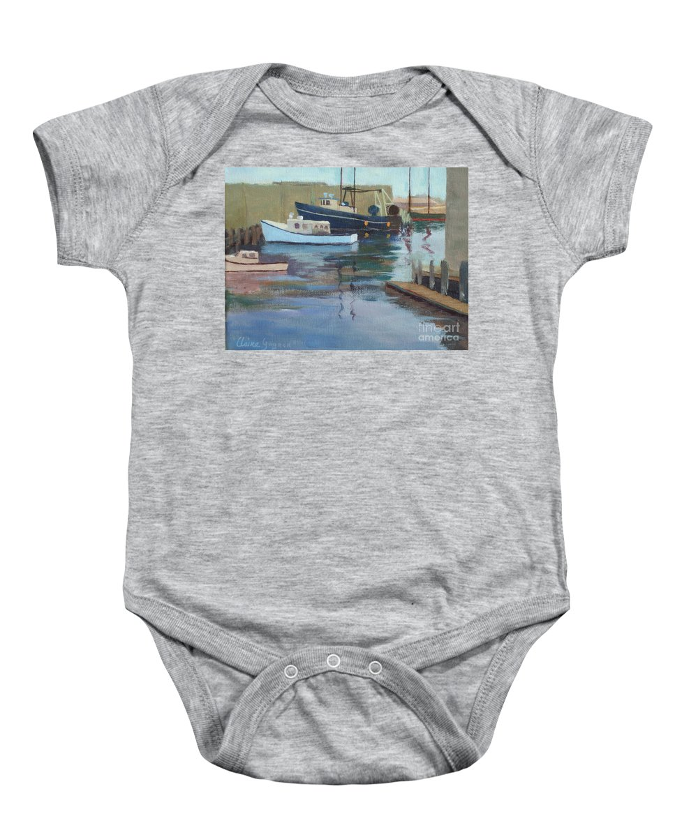 Gloucester Harbor Baby Onesie featuring the painting Gloucester Harbor by Claire Gagnon