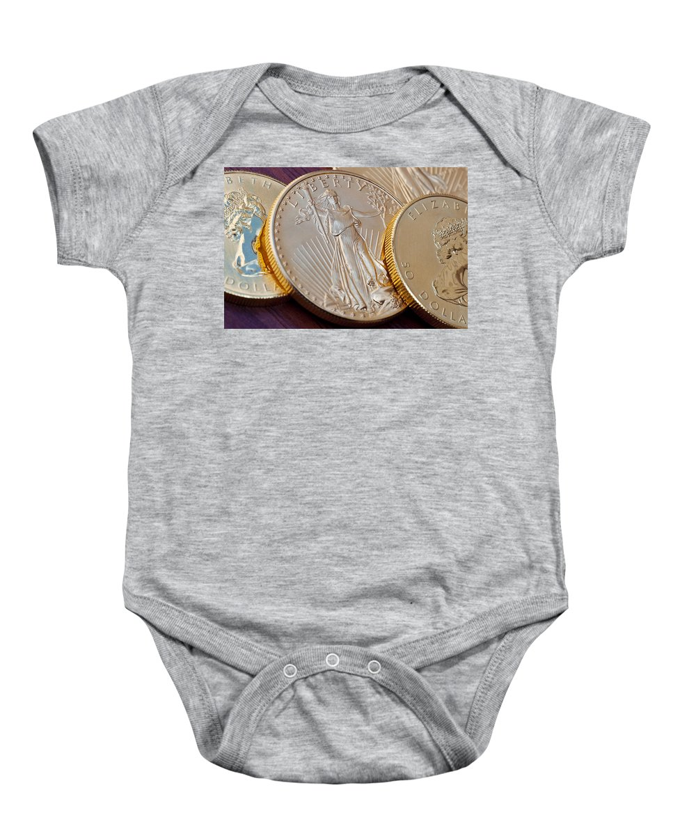 Bank Baby Onesie featuring the photograph Golden Coins II by Joe Carini - Printscapes