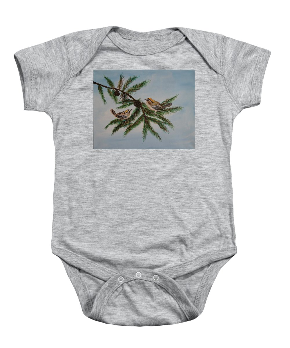Birds Baby Onesie featuring the painting Golden Crowned Kinglets by Leslie Allen