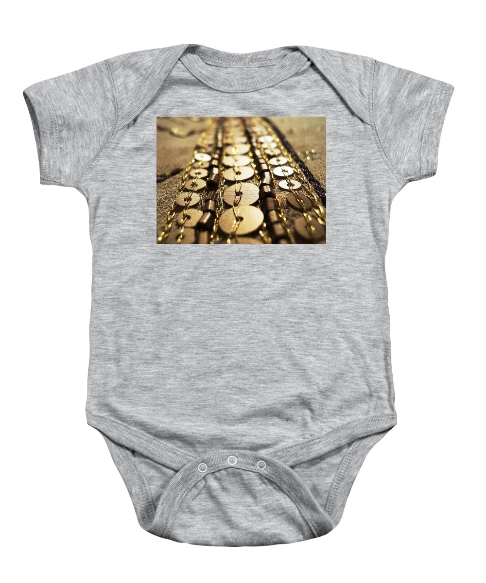 Blossoming Baby Onesie featuring the photograph Golden Sequins Highway by Sumit Mehndiratta