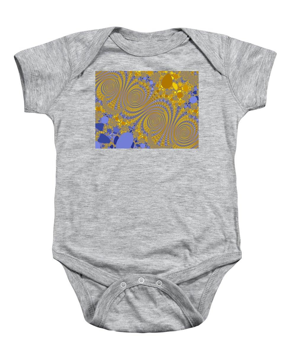 Fractal Baby Onesie featuring the digital art Golden Vortices by Mark Greenberg