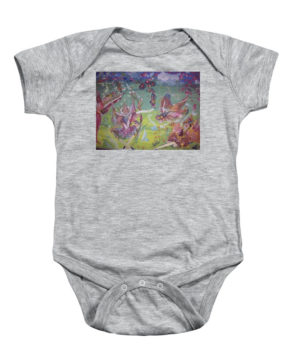 Fairy Baby Onesie featuring the painting Good Morning Fairies by Judith Desrosiers