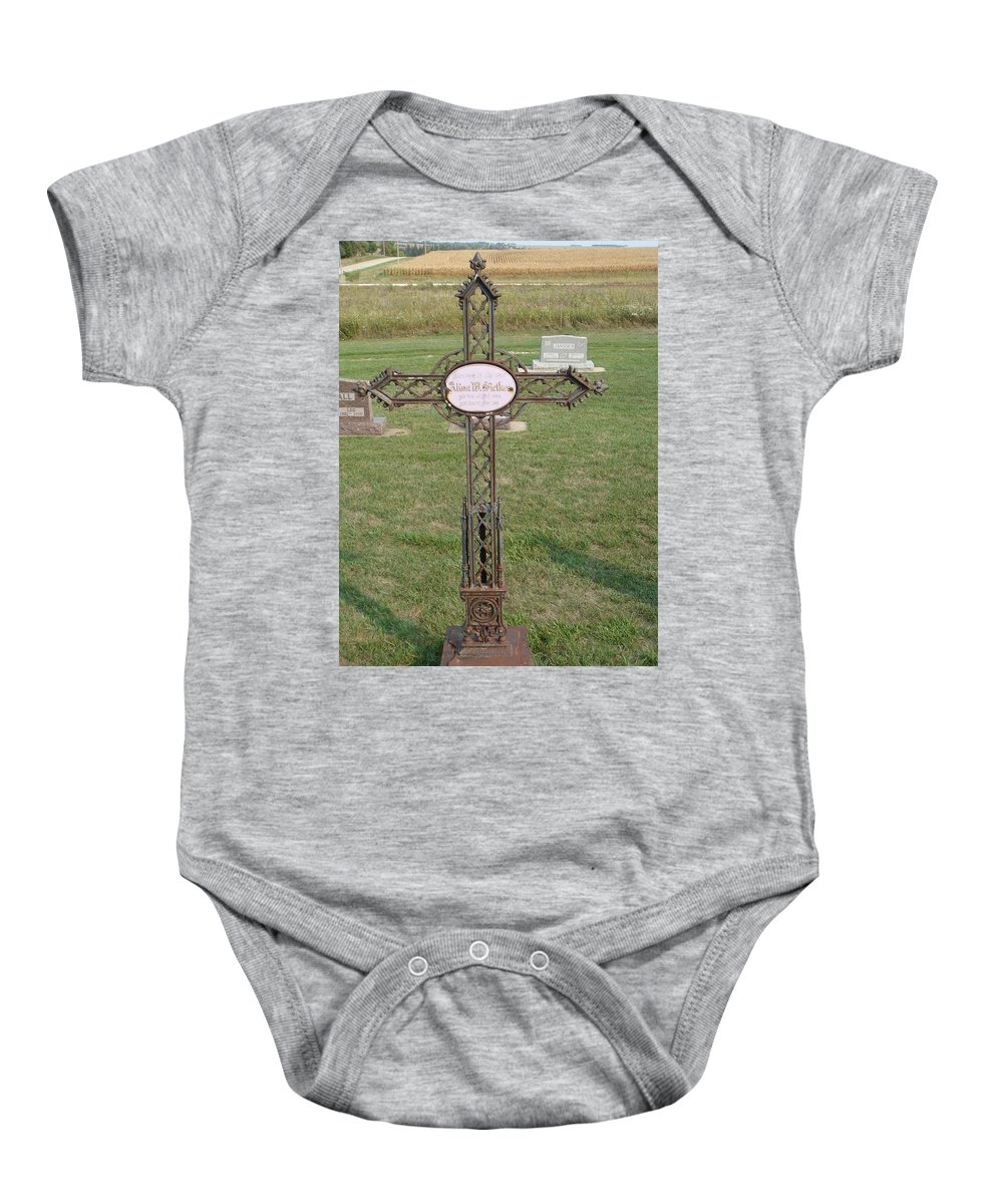 Gothic Baby Onesie featuring the photograph Gothic Grave Marker by Bonfire Photography