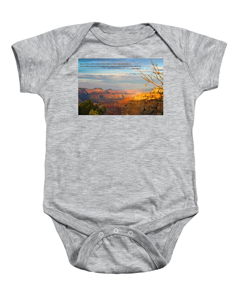 Edward Abbey Baby Onesie featuring the photograph Grand Canyon Splendor - With Quote by Heidi Smith