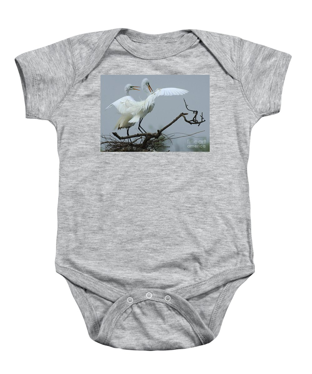Great Egret Pair Baby Onesie featuring the photograph Great Egret Pair by Bob Christopher