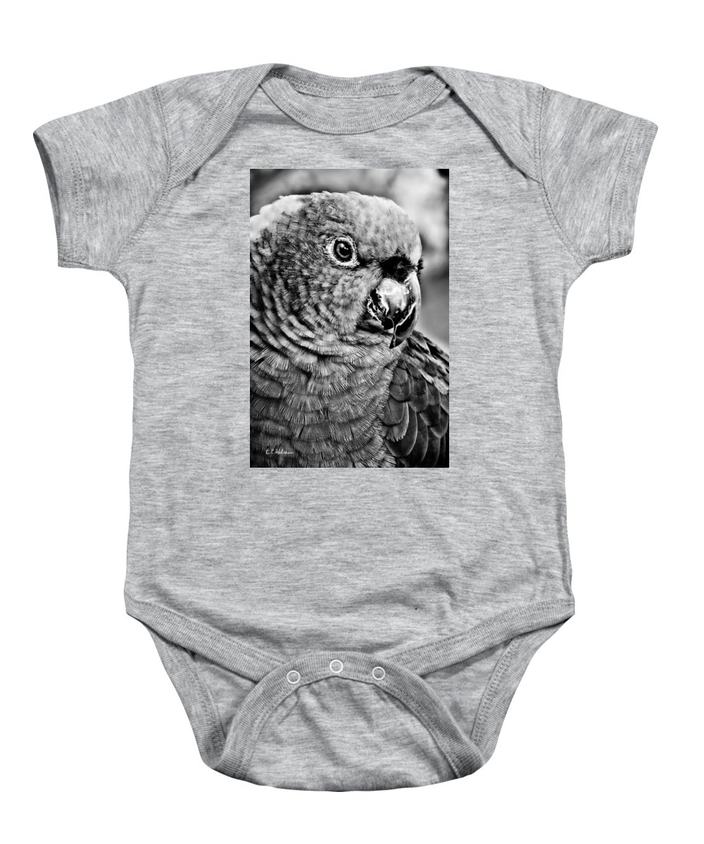 Parrot Baby Onesie featuring the photograph Green Parrot - Bw by Christopher Holmes