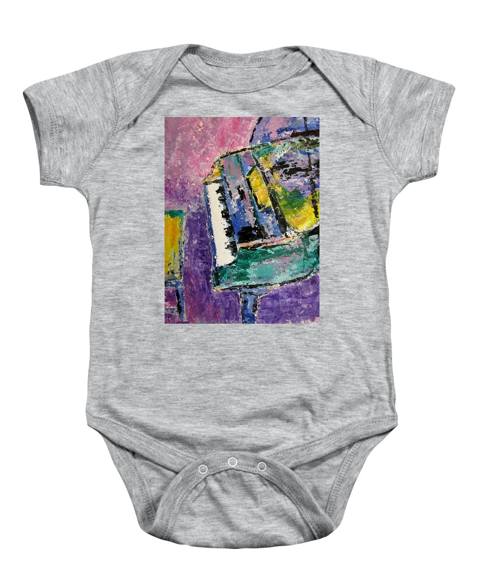 Music Baby Onesie featuring the painting Green Piano Side View by Anita Burgermeister