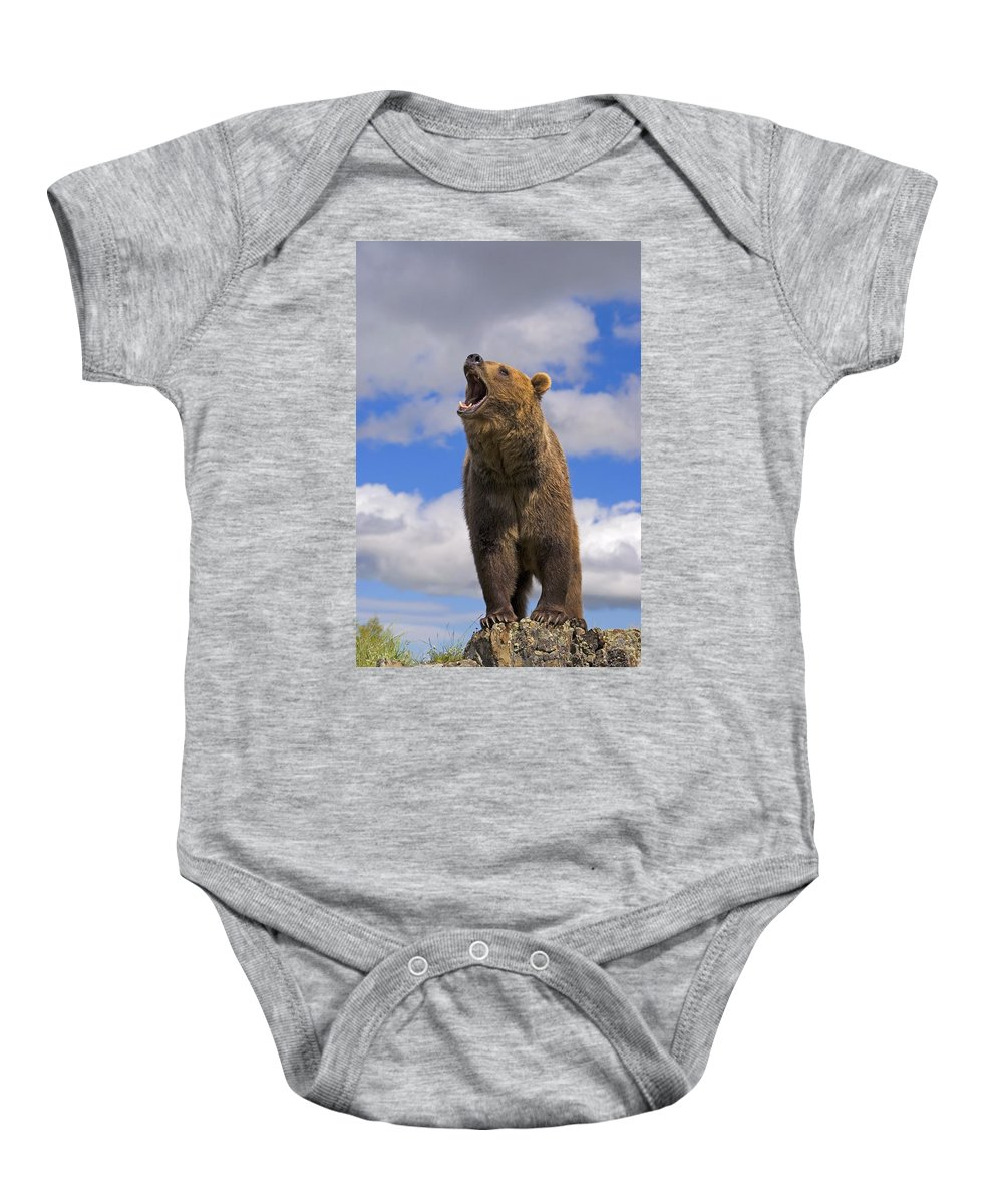 Animal Baby Onesie featuring the photograph Grizzly Bear Roaring by John Pitcher