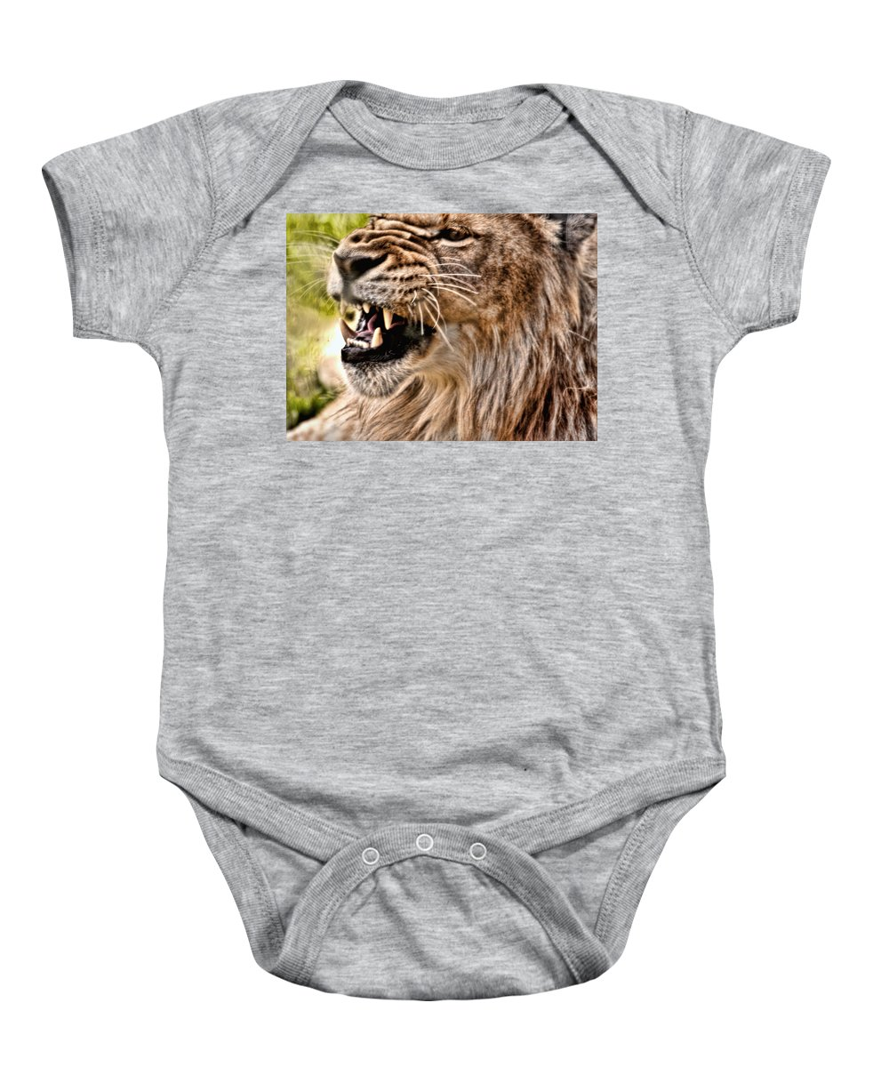Lion Baby Onesie featuring the photograph Grrr by Sarah Wiggins