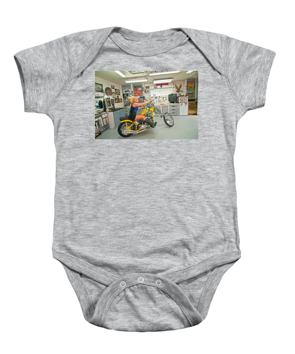 Harley Country Baby Onesie featuring the photograph Harley Country by Randall Branham