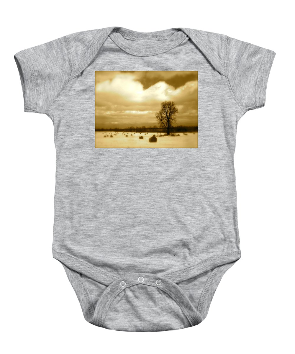 Landscape Baby Onesie featuring the photograph Hay Field by Arthur Barnes