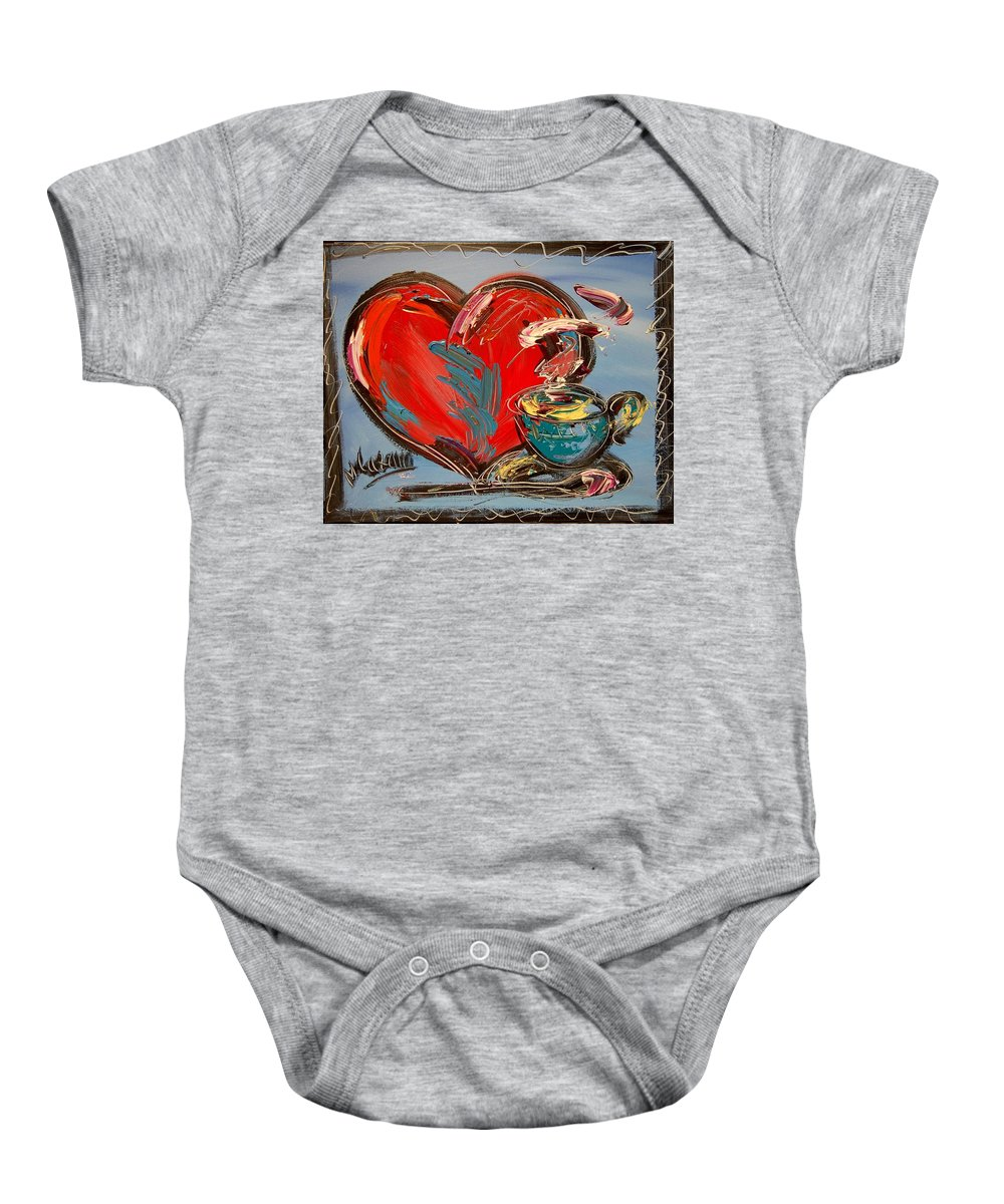 Baby Onesie featuring the painting Heart Coffee Cup by Mark Kazav