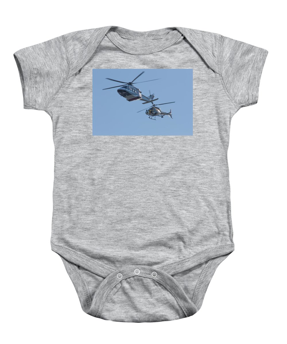 Dawn Oconnor Dawnoconnorphotos@gmail.com Baby Onesie featuring the photograph Helicopters by Dawn OConnor