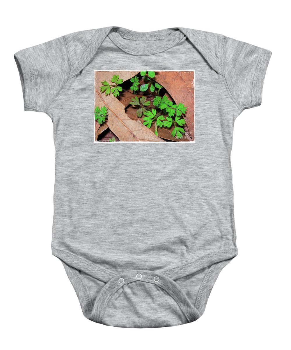 Leaves Baby Onesie featuring the photograph Here Comes Spring by Judi Bagwell