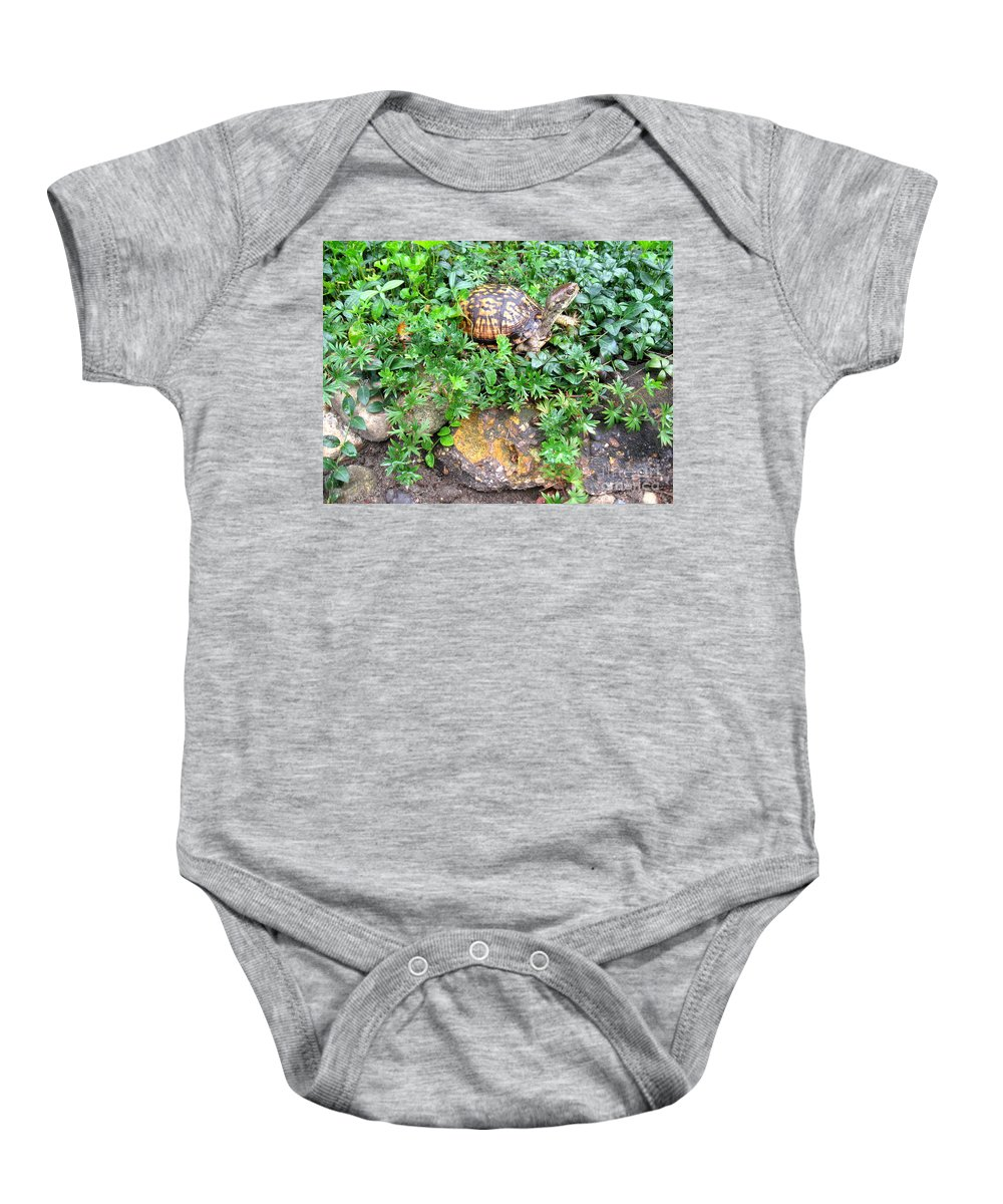 Turtle Baby Onesie featuring the photograph Hitchin A Ride On A Turtle by Nancy Patterson