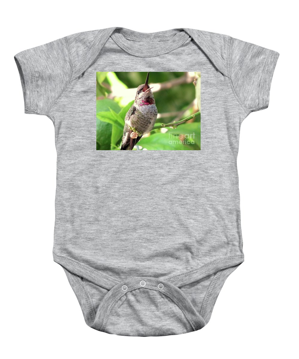 Hummingbird Baby Onesie featuring the photograph Ho Hum Hummer by Marilyn Smith