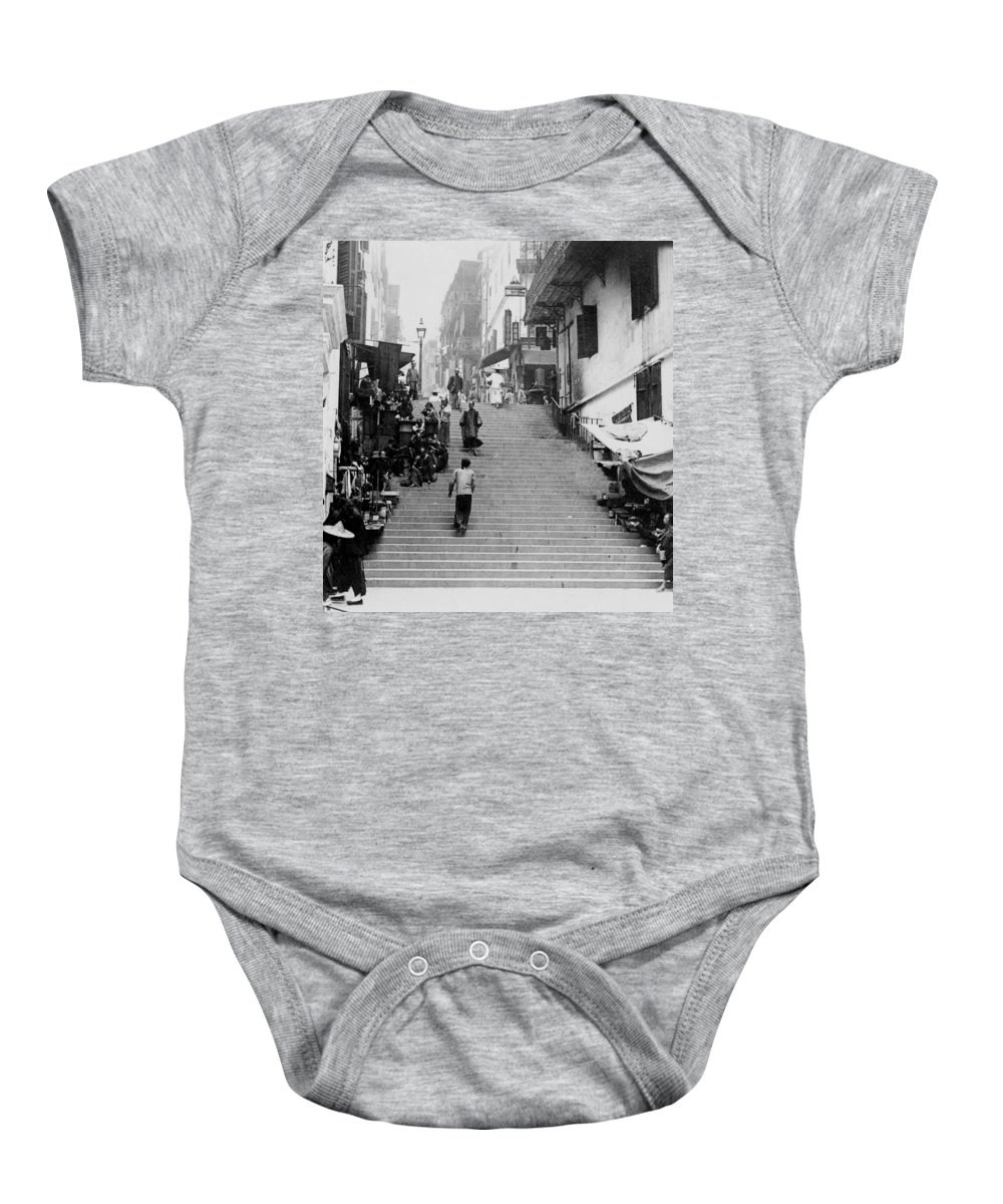 hong Kong Baby Onesie featuring the photograph Hong Kong Vintage Street Scene - C 1896 by International Images