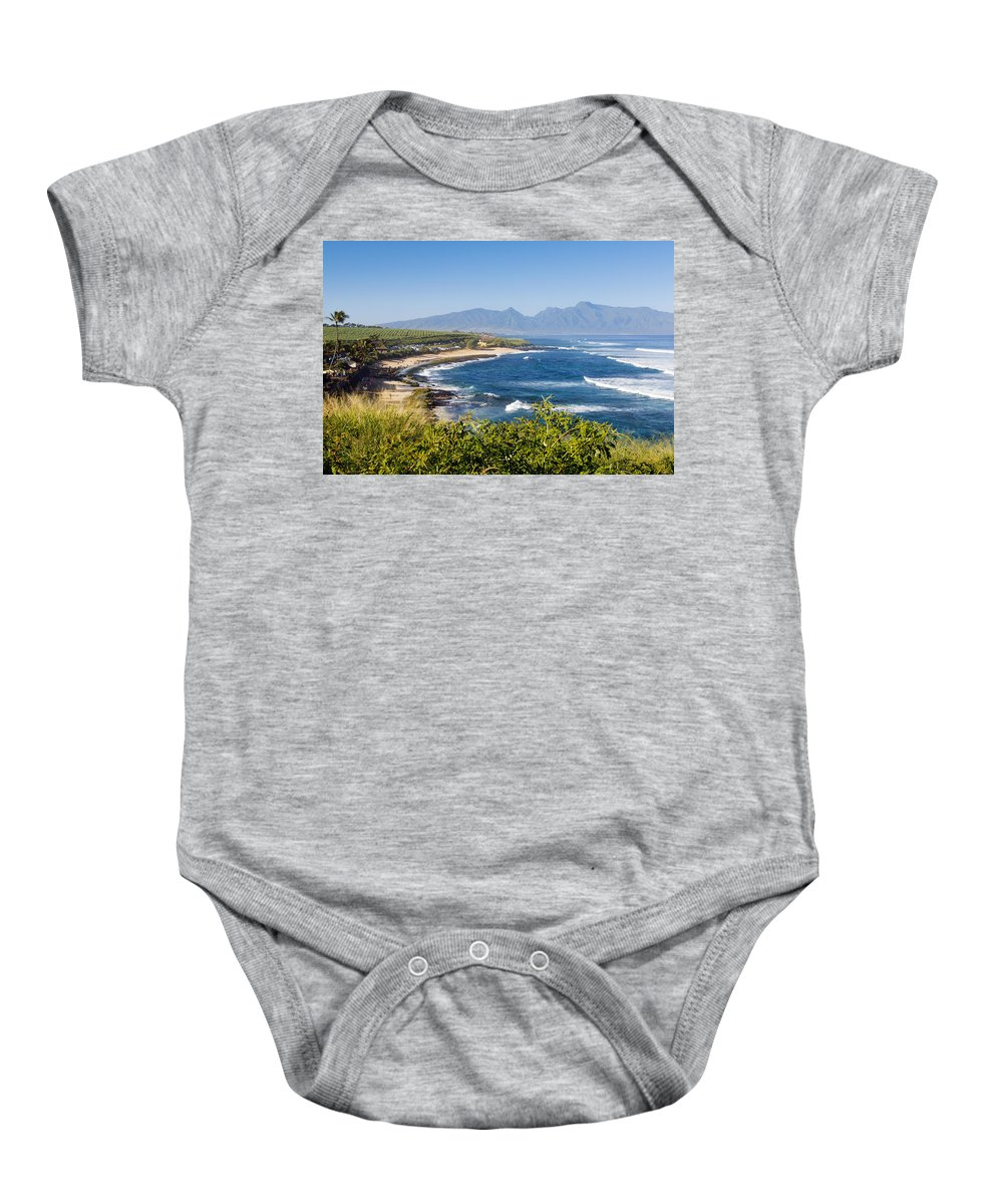 Beachfront Baby Onesie featuring the photograph Hookipa Beach Park by MakenaStockMedia - Printscapes