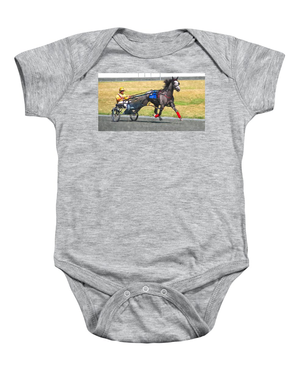 Horse Driver Trotters Racing Track Gray Baby Onesie featuring the photograph Hooray For The Gray by Alice Gipson