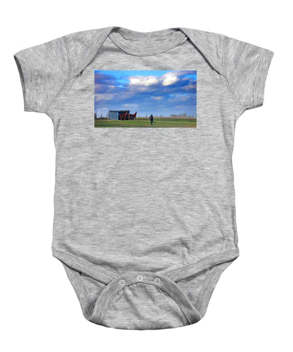 Landscape Baby Onesie featuring the photograph Horse Ranch Landscape by Steve Karol