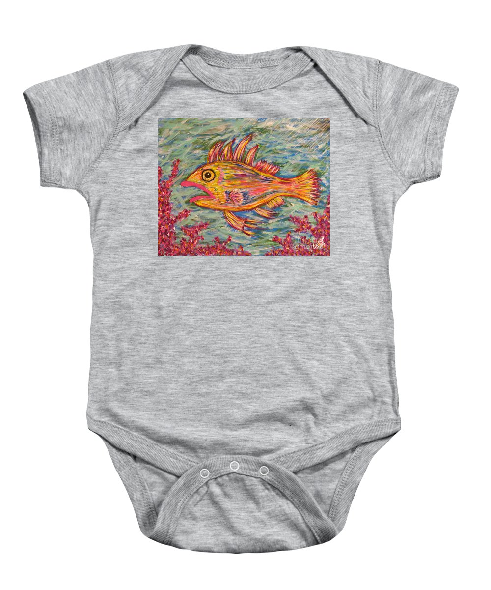 Fish Baby Onesie featuring the painting Hot Lips The Fish by Susan Cliett