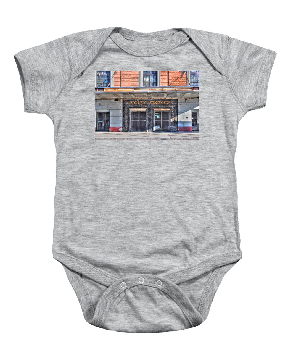 Baby Onesie featuring the photograph Hotel Statler by Michael Frank Jr