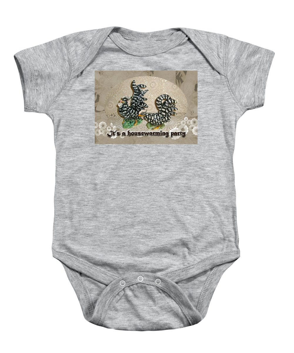 Housewarming Baby Onesie featuring the photograph Housewarming Invitation - Black And White Chickens Figurines by Mother Nature