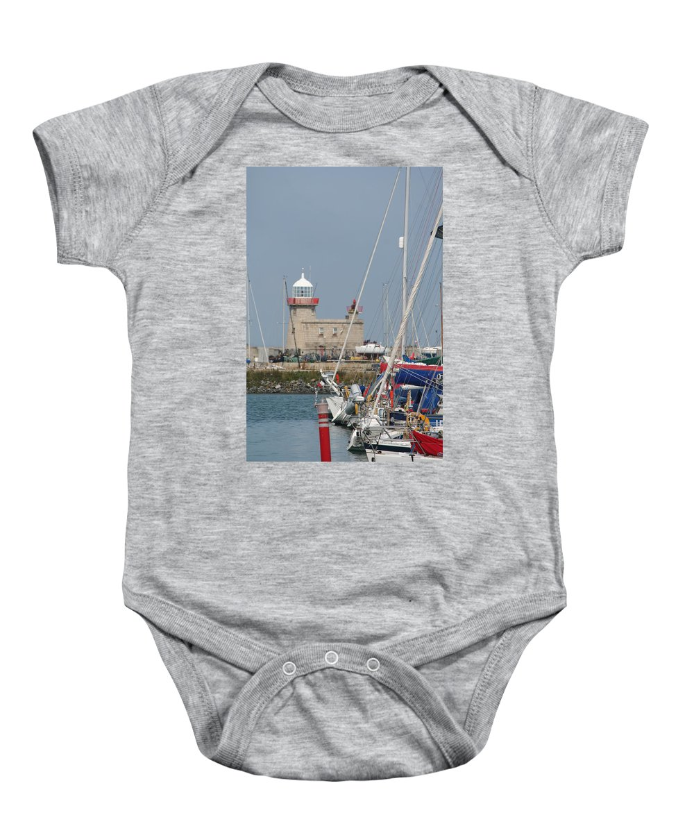 Howth Ireland Baby Onesie featuring the photograph Howth Lighthouse 0004 by Carol Ann Thomas