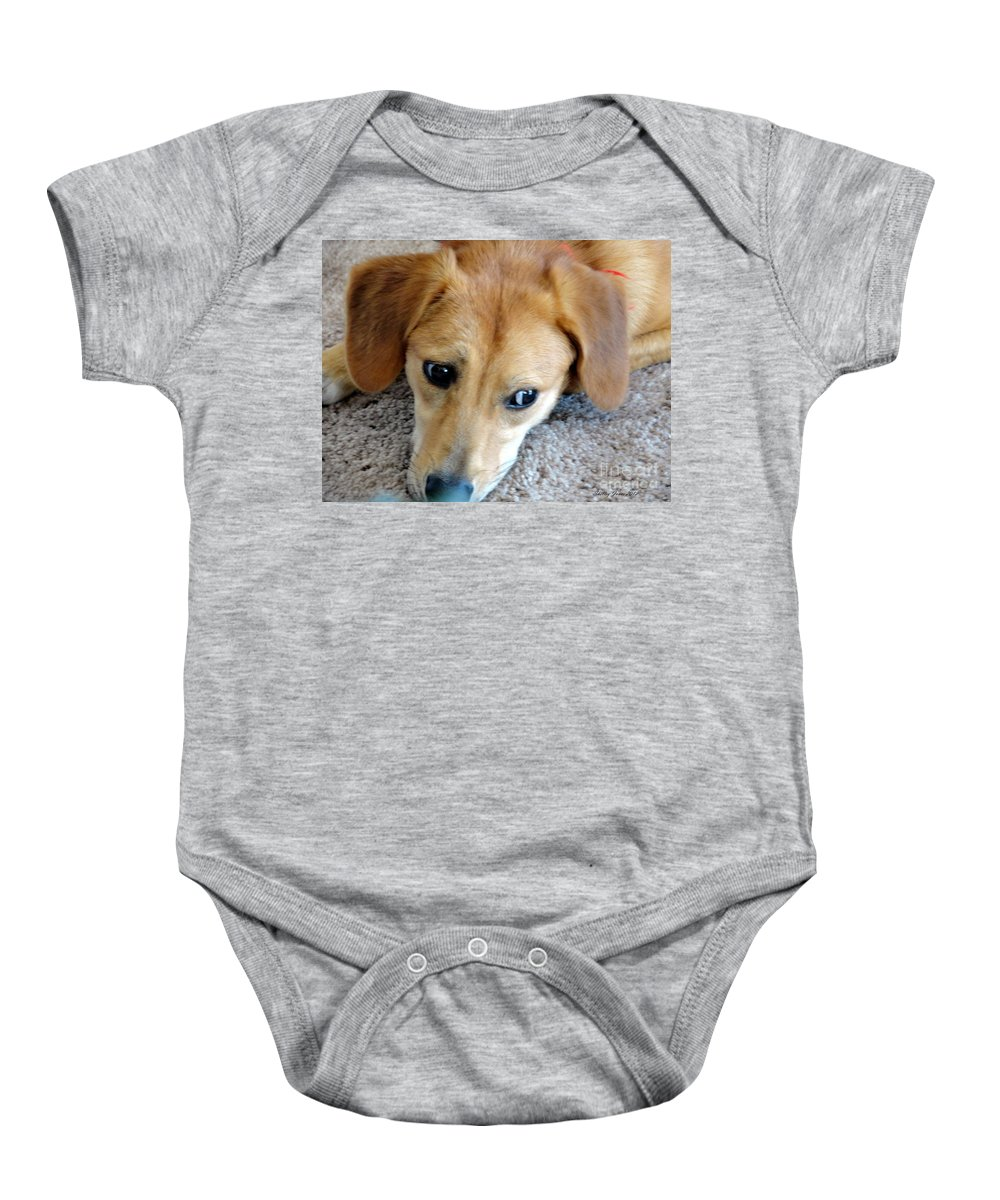 Beagle Baby Onesie featuring the photograph I Am So Bored by Shelley Jones