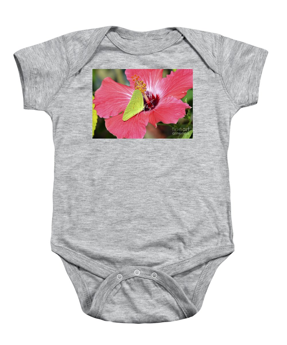 Hibiscus Flower Baby Onesie featuring the photograph I Love My Hibiscus by TJ Baccari